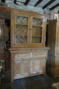Antique Victorian PINE DRESSER Arts & Crafts glazed cabinet top 132x215cm rustic