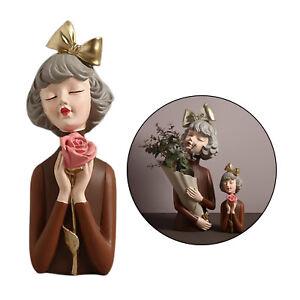 Resin Figurine Girl Desktop Vase Home Office Sculpture Sculpted Ornaments