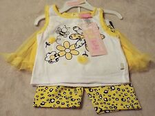 DUCK DUCK GOOSE Girls 24M Outfit 3 PCs Yellow Tank Top Skirt Shorts Bumble Bee