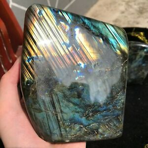 5.32LB Natural Labradorite Quartz Crystal Mineral Spectrolite Healing