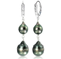 Sterling Silver Leverback 8-12mm Black Off-Shape Tahitian Pearl Dangle Earrings