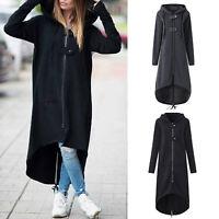 Women Extra Long Jacket Ladies Zip Up Cardigan Jumper Hooded Coat Outwear Winter