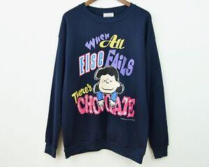 Peanuts 1971 Snoopy XL Sweatshirt Cartoon Jumper Sweater vtg Lucy Chocolate Gift