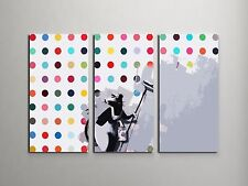 "Banksy Dots Rat Stretched Canvas Triptych Print 48""x30"". BONUS BANKSY WALL DECAL"