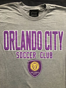 Orlando City Soccer Club MLS Short Slevee Gray T Shirt Sz. S
