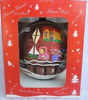 "Lg 8"" Jumbo LAVED Hand Painted Large Mica Mercury Glass Xmas Tree Ornament #529"