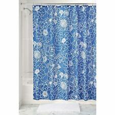 "InterDesign Mila Floral Fabric Shower Curtain - 72"" x 72"", Blue/White"