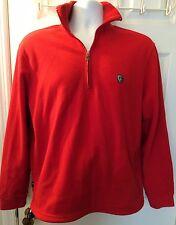 Men's POLO RL RALPH LAUREN Red Fleece Jacket Coat 1/2 Zip 1/4 Popover Sz M