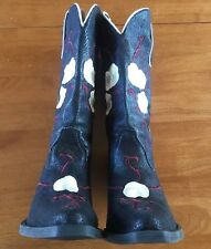 "Nomad Brand Women's Black Embroidered Cowboy Boots, ""Buck""  Size 8. New"