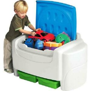 Kids Large Toy Storage Chest Bin Organizer w/ Detachable Lid And Bottom Shelves