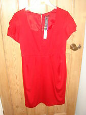 bnwt marks and spencer red jersey dress size 14 £39.50 lined limited collection