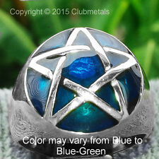 MEN'S BLUE PENTAGRAM PENTACLE POWER 925 SILVER RING WICCA  JEWELRY @ ALL SIZES