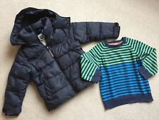 Next Navy Winter Coat Age 4 And Cotton Stripey Mini Club Jumper Size 4 Years