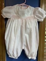 Vintage Petit Ami Pink & White Smocked & Embroidered Romper Size 6mos~~D1