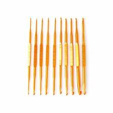 10Pcs Golden Aluminum Double End Crochet Hook Knitting Needle Set Weave Craft