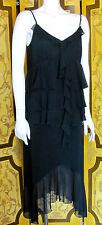 1920s Flapper Style Black Chiffon Drop Waist Dress SzM