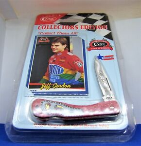 NEW Red Case Pocket Knife JEFF GORDON CARD Brass inlay 1992 1993 Zytel Tru-Sharp