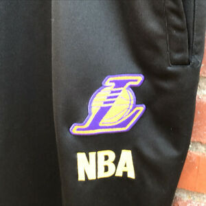 Vintage OUNK NBA Los Angeles Lakers Warm-Up Pants 5XL Black Pockets Zip to Ankle