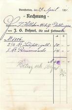 alte Rechnung, J. G. Bohnet Öle Fettwaren, DORNSTETTEN 1921 #E736