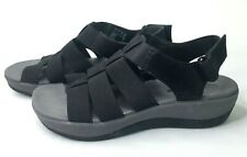 Clarks Cloudsteppers Womens Slingback Arla Shaylie Sandals Size 7.5 Black Wedge