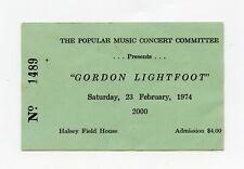 1974 GORDON LIGHTFOOT CONCERT TICKET STUB HASLEY FIELD HOUSE ANNAPOLIS MARYLAND