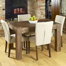 Shiro solid walnut dark furniture small dining table and four chairs set