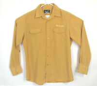 VTG Wrangler Pearl Snap Shirt Mens SZ L Rodeo Bull Embroidery and Spell Out Gold