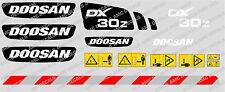 DOOSAN dx30z Escavatore Adesivo Decalcomania Set