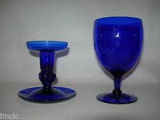 Antique Set~BRISTOL/COBALT BLUE~Blown GLASS~CANDLESTICK w/drip lip & GOBLET