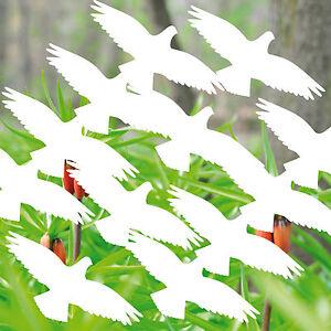 16 Aufkleber 10cm weiß Vogel Vögel Balkon Deko Fenster Scheiben Glas Schutzfolie