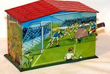 Sports Soccer Football Mechanical Money Bank Tin 1950s