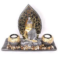 Thai Buddha Statue Figurine Tealight Candle Holder Ornament Silver