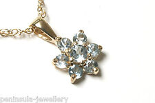 """9ct Gold Blue Topaz Cluster Pendant and 18"""" Chain Gift Boxed Necklace"""
