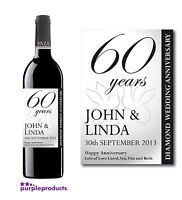 PERSONALISED 60th DIAMOND WEDDING ANNIVERSARY WINE or CHAMPAGNE LABEL