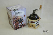 Coffee grinder; Manual Hand Coffee Bean Grinder Stand; Timber, Ceramic & Brass