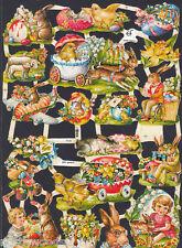 EASTER SHEEP CHILD CHICK BUNNY EGGS CUT SCRAP EF GERMAN