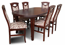 Designer Dining Table Group +6 Chairs Wood Office Room New