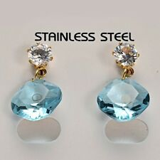 Stunning 14K Gold Stainless Steel Turquoise Glass Rhinestones Dangle Earrings