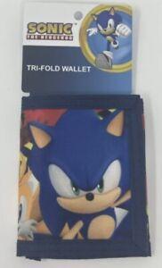 Sega Sonic The Hedgehog Tri-fold Wallet, Zipper Pocket, Hook Loop New
