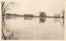 VTG ca 1924 RPPC POSTCARD FARM HOUSE BARN RIVER LAKE FLOOD FREMONT WISCONSIN WI