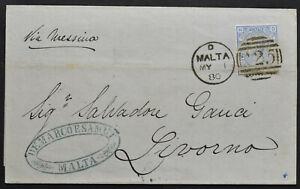 MALTA 1880 Auslandsbrief nach LIVORNO mit britischer Frankatur 2 1/2 P
