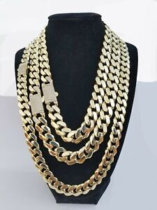 "Real 10k Gold Cuban Link Royal Necklace 14mm Monaco chain 18"" 20"" 22"" 24"" Box C."