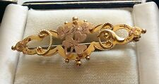 Beautiful Ladies Hallmarked Antique Rose 9ct Gold & Yellow Gold Pretty Brooch
