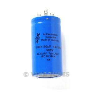 New F&T Germany Dual Section Radial 100uF+100 uF 500V Electrolytic Can Capacitor
