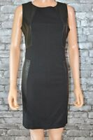 Black Faux Stretch Leather & Milano Sleeveless Shift Dress Size 8  -  Eu 36