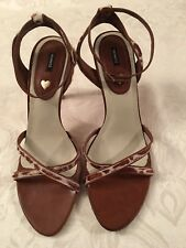 New SCHUTZ Brown/Cream Calf Hair Scrappy Ankle Heels Sandals Shoes 8 B