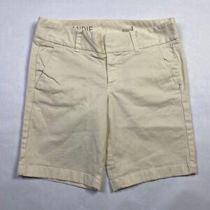 J. Crew Andie Womens Shorts Size 4 Stretch Cotton Bermuda Cream Casual