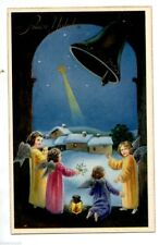 Angeli Bambini Neve Gesù Campana Presepe Natale Child Angels Bell PC Circa 1930