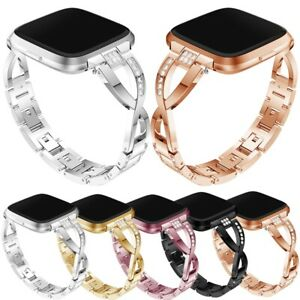 Lady Bling Rhinestone Stainless Steel Watch Wrist Band Strap For Fitbit Versa