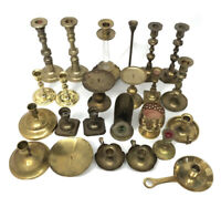 Vintage HUGE Mixed Lot 24 Solid BRASS Candlestick Holders Party Weddings Event A